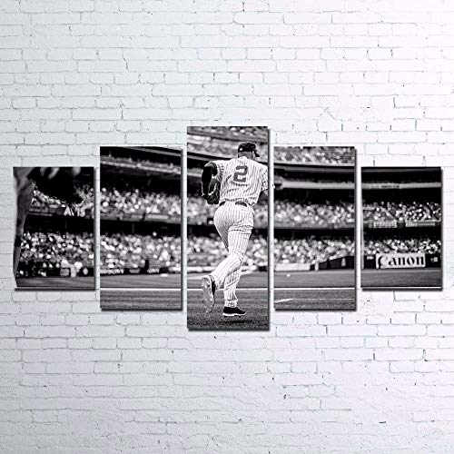 LAKHAFZY Canvas Paintings Wall Art HD Prints Home Decor 5 Pieces Baseball Player Pictures for Living Room Modular Sports Poster-B,Frame