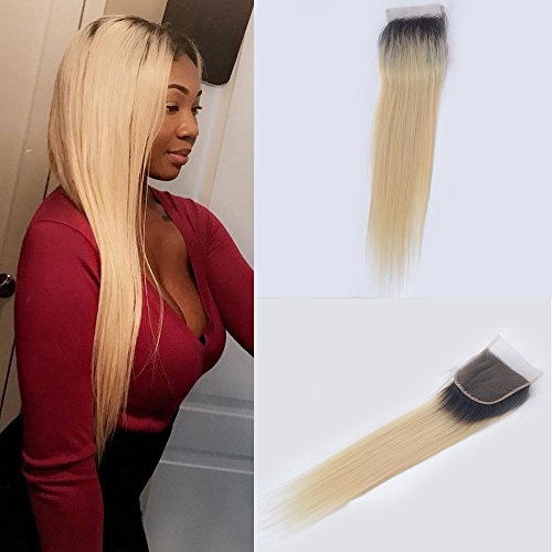 Choshim Hair Ombre 1B/613 Dark Roots Blonde Silky Straight Lace Closure Human Hair Closure Hairpiece Free Part Brazilian Hair 12inches