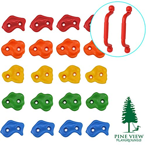 Pine View Playgrounds Kids Premium Rock Climbing Holds with Safety Handles | Extended 2 Inch Mounting Hardware for Childrens Playground Rock Wall | Playset Installation Guide - Hand Holds Climbing