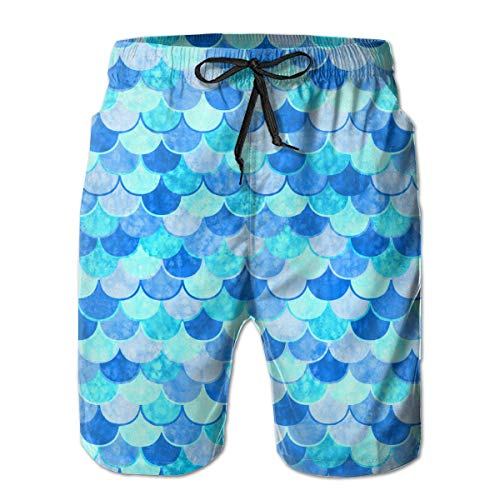 YongColer Cargo Short for Boys Mens, Half Pants Full Elastic Waist Plus Size Sportwear for Beach Gym Workout, Sky Blue Mermaid Fish Scale Shorts with Drawstring, Quick Dry/Wrinkle Free