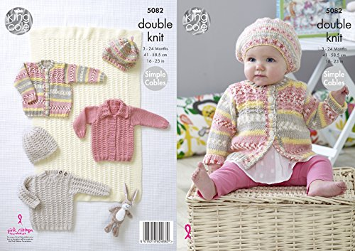 King Cole Baby Double Knitting Pattern Simple Cable Blanket Sweater Cardigans & Hat (5082) (Cable Knit Baby Blanket Pattern)