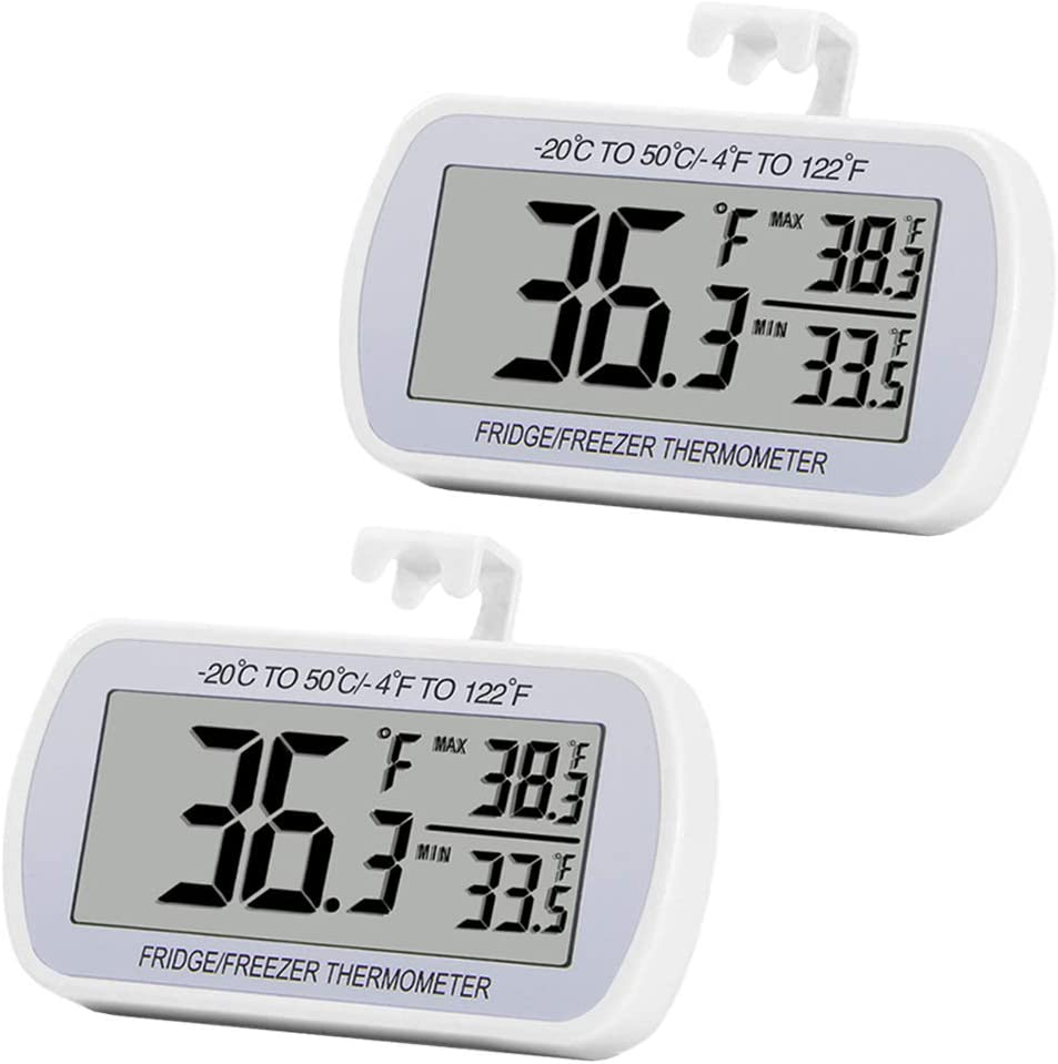 Digital Refrigerator Thermometer 2 Pack Fridge Freeze Room Thermometer Waterproof Large LCD Display Max/Min Record Function, White