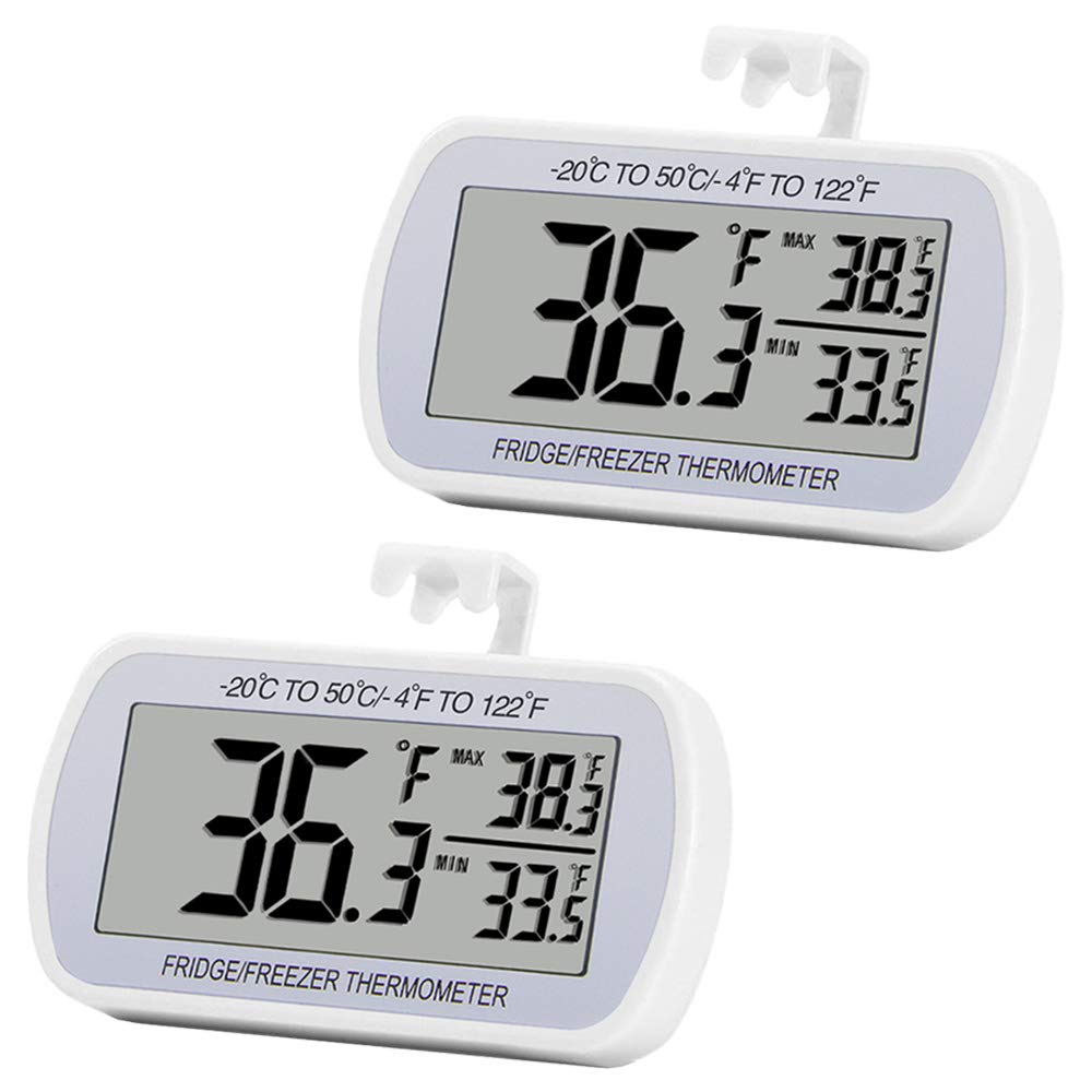 Digital Refrigerator Thermometer 2 Pack Fridge Freeze Room Thermometer Waterproof Large LCD Display Max/Min Record Function, White by RIY