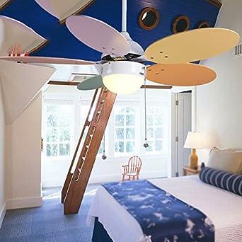 XHOPOS HOME Deckenventilator Licht Farbe Kinderzimmer Schlafzimmer  Restaurant LED Beleuchtung Kronleuchter Home 42 Zoll