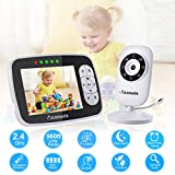 "Baby Monitor, Anmade Video Baby Monitor 3.5"" Color Screen, Baby Monitors with Camera Night Vision,Support Multi Camera,ECO Mode,Two Way Talk, Temperature Sensor,Built-in Lullabies"