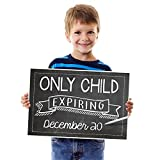 Katie Doodle PA011 Child Expires 2019 | Baby Birth Announcement, Pregnancy Reveal Surprise Board, Chalkboard Photoshoot Prop for Social Media, Funny Sign for Kids, 12x18 inches, Black Style
