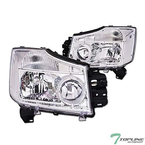 Topline Autopart Chrome Clear Housing Headlights Signal NB For 04-15 Nissan Titan ; 04-07 Armada
