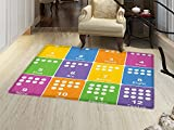 smallbeefly Kids Activity Door Mats for home Learning the Numbers Themed Educational Design Colorful Preschool Pattern Bath Mat Bathroom Mat with Non Slip Multicolor