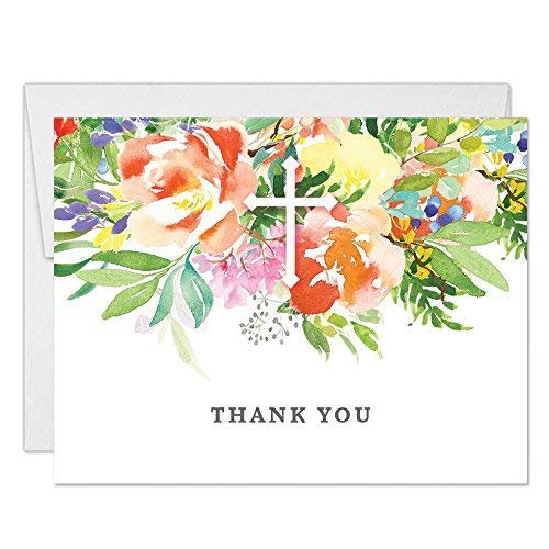 Pretty Baptism Thank You Cards 50 Pack with Envelopes Baby Christening Religious Church Service Thanking Guests Funeral Memorial Mass Lovely Floral Holy Cross Folded Blank Notes by Digibuddha VT0093