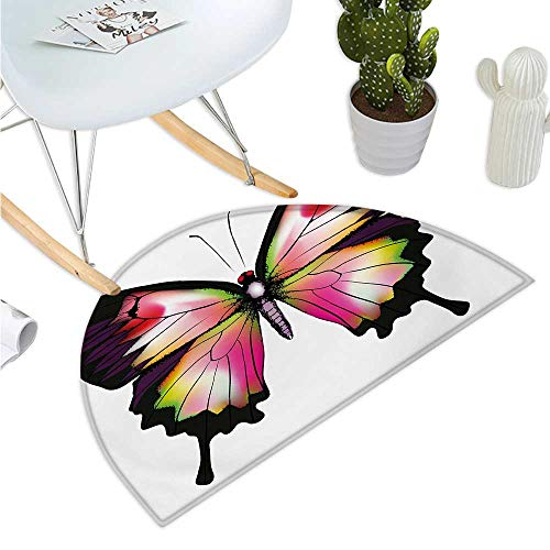 Swallowtail Butterfly Half Round Door mats Lively Wildlife Animal with Antennas in Fantastic Dreamlike Colors Bathroom Mat H 15.7