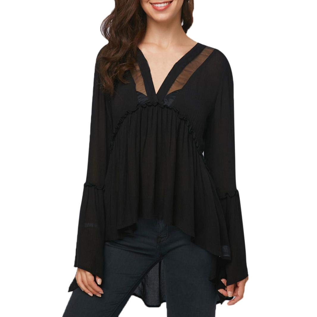ManxiVoo Women's High Low Pleated Ruffles Blouse Top Long Flare Sleeve Mesh Patchwork Shirt (XXL, Black)