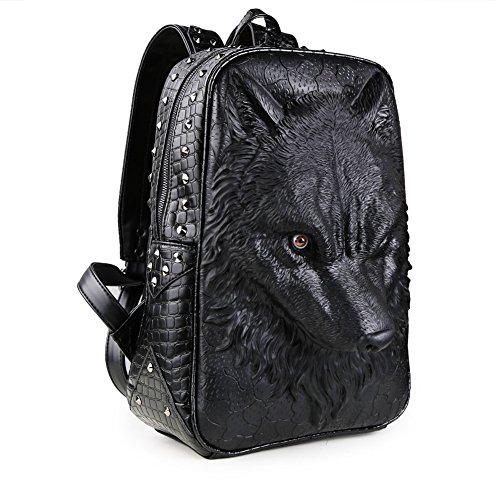 Koolertron 3D Animal School Backpack Wolf Studded College...