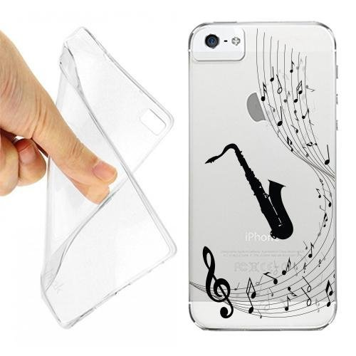CUSTODIA COVER CASE SAX MUSICA NOTA PER IPHONE 5 5S TRASPARENTE