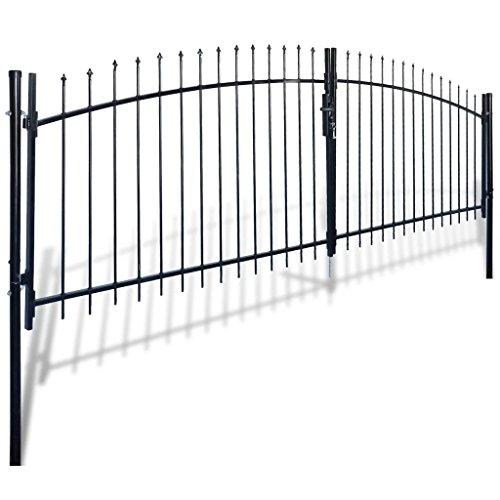 (Daonanba Decorative Garden Gate Heavy Duty Door Fence Gate with Spear Top Practical Durable Barrier Double Door 13' x 6')