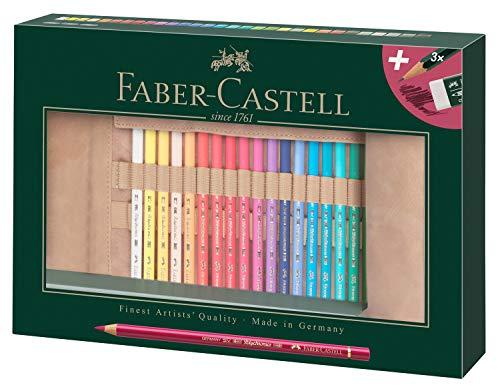 Faber-Castell 110030 Farbstift Polychromos, 30er Set mit Stifterolle aus Leder und Zubehör, wasserfest, bruchsicher, für Profis und Hobbykünstler