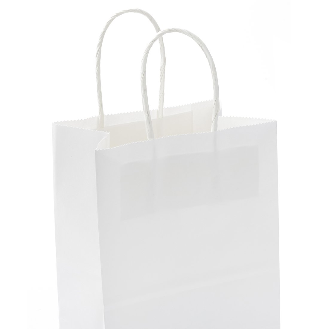 GSSUSA Halulu 100PCS 5.25'' x 3.75'' x 8'' White Kraft Paper Bags, Handled, Shopping, Gift, Merchandise, Carry, Retail,Party Bags by GSSUSA (Image #3)