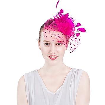 8bfe04a254c AJOG Women Fascinator Hair Clip Mesh Flower Headwear Feather Veil Headband  Cocktail Tea Party Horse Racing
