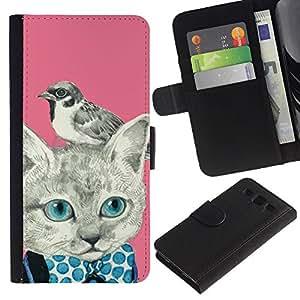 SAMSUNG Galaxy S3 III / i9300 / i747 Modelo colorido cuero carpeta tirón caso cubierta piel Holster Funda protección - Kitty Kitten Bird Pink Bowtie
