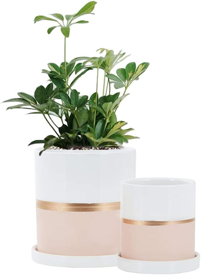 Fieren White Ceramic Flower Pot Garden Planters 6
