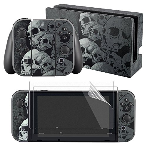 eXtremeRate Full Set Faceplate Skin Decal Stickers for Nintendo Switch with 2Pcs Screen Protector (Console & Joy-con & Dock & Grip) (Gray Skull) from eXtremeRate