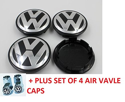 Volkswagen VW Wheel Center Caps (SET OF 4 pieces) PLUS set of 4 TIRE VALves EOS Golf Jetta Passat CC Phaeton Scirocco Sharan Tiguan Touran Transporter Hubcap Wheel Center Caps 3B7601171 3B7 601 171