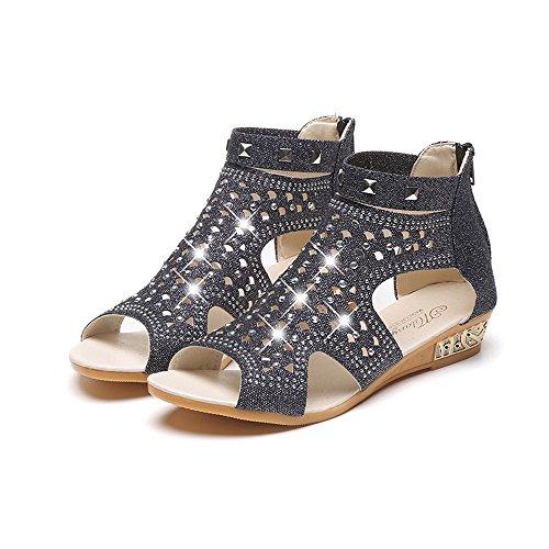 Été Chaussures Pas Electri Peep Sandales Montante Creux Femmes Coins Strass Toe Troupeau Noir Compensées Dames Cher Trou Chaîne Antidérapantes A Roma PwzCzqg