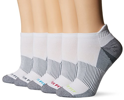 Copper Fit Womens 5PK Length Socks with Ankle Guard, White, 9/11