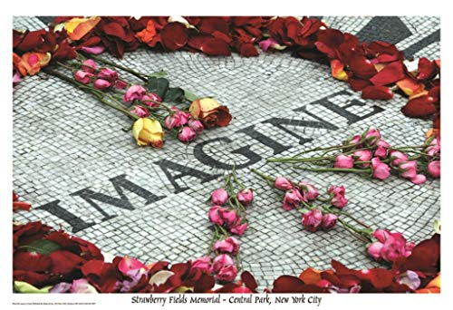 Imagine John Lennon Strawberry Fields Memorial - Central park New York City by Laura Lo Forti 36x24 Art Print Poster Wall Decor Photograph The Beatles Roses Peace Sign - John Lennon Memorial
