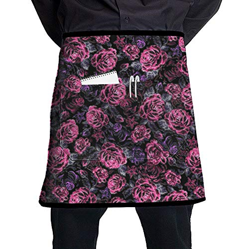 GHDSKH Rose Bush Waist Aprons Commercial Restaurant Home Bib Spun Poly Polyester Kitchen for Unisex ()