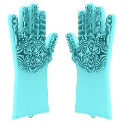 (Desire Deluxe Magic Silicone Gloves Dishwashing Glove Scrubber for Washing Dish, Kitchen,)