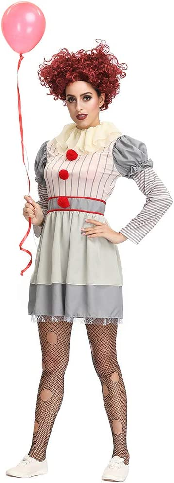 Auplew Disfraz de Payaso de Halloween, Disfraz de Payaso Asesino ...