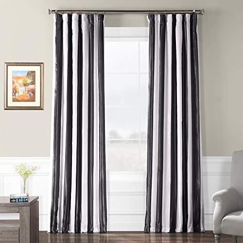 Half Price Drapes PTSCH-11089-96 Faux Silk Taffeta Stripe Curtain, Presidio
