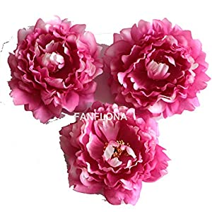 FANFLONA Wholesale Silk Flowers Artificial Peony Flower Heads 100 Bulk for Wedding Backdrop Centerpieces Cake Topper Decor (Fuchsia) 23