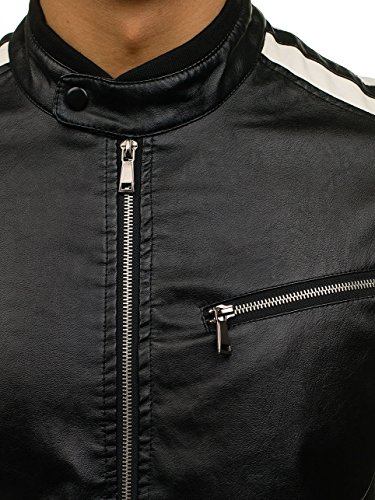 BOLF Cuello Chaqueta Ecológico 4D4 Elevado Bolsillos Negro Cuero Motivo 61Hprwq6R