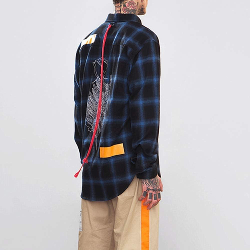 HIENAJ Mens Flannel Long Sleeve Plaid Shirt Print Back Button Down Loose Fit Shirts
