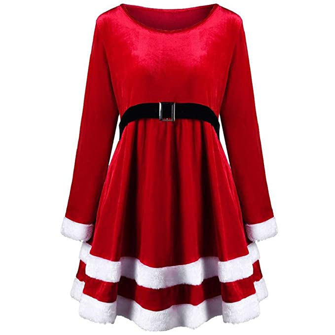 detailed look 98d04 4a792 VICGREY ❤ Vestito Donna Natale Rosso Velluto Lungo Manicotto Vestiti Donne  Santa Festa di Natale Abito Elegante Cocktail Vestiti