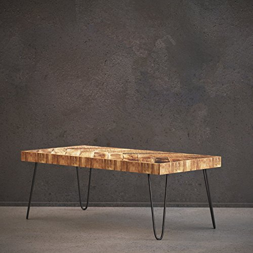 Modern Wood Tables Coffee (Mindful Living Solid Wood Coffee Table with Chevron Pattern and Midcentury Modern Legs)