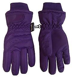 N\'Ice Caps Kids Bulky Thinsulate and Waterproof Ski Glove With Ridges (6-8yrs, Dark Purple)