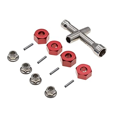 4Pcs Aluminum 12mm hex hubs Wheel adapters & M4 Flanged Lock Nuts for Traxxas 1/10 Stampede Slash Rustler 2WD RC Car etc: Toys & Games