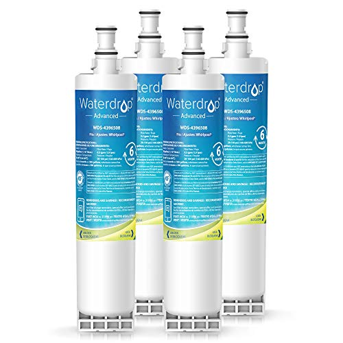 Pur Refrigerator Filter Advanced (Waterdrop NSF 53&42 Certified 4396508 Replacement Refrigerator Water Filter, Compatible with Whirlpool 4396508, 4396510, Kenmore 46-9010, EveryDrop Filter 5, 240V, EDR5RXD1, PUR W10186668, 4 Pack)