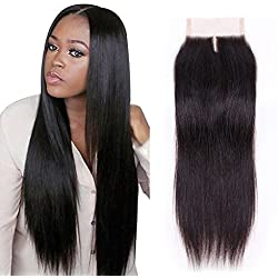 Gabrielle Brazilian Hair Straight Hair Closure 4x4 Middle Part Lace Closure Virgin Brazilian Hair Weave Human Hair Natural Color 130% Density (10 middle part)