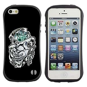 Suave TPU GEL Carcasa Funda Silicona Blando Estuche Caso de protección (para) Apple Iphone 5 / 5S / CECELL Phone case / / Rose Top Hat Black White Skull Flower /