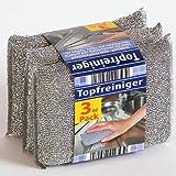 3er Pack Topfreiniger Topfschwamm, kraftvoll, nicht kratzend, silberfarben, je 120x90x25mm