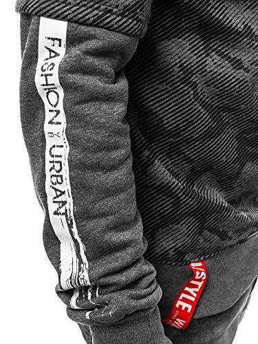 Sportivi Style Felpa Uomo Ozonee 682b Intestazione Lunghe Dd08 Pullover Motivo J Ozonee Scuro Grigio Maglia 777 Maniche A P055Fq