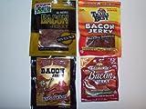 ULTIMATE BACON JERKY Sampler Gift Pack of 4- Oberto Bacon Jerky, Johnsonville Bacon Jerky, Wild Bill's Bacon Jerky & Trail's Best Bacon Jerky