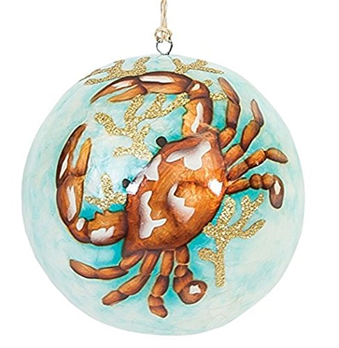 GALLERIE II Oceana Capiz Shell Hanging Ball Ornament 4 Inch Diameter (Crab)