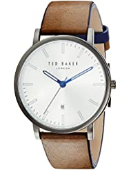 Ted Baker Mens DEAN Quartz Stainless Steel and Leather Casual Watch, Color:Black (Model: TE50012003)