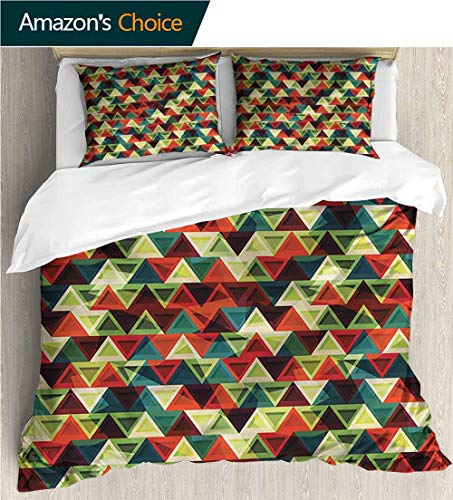 - VROSELV-HOME 3 Pcs Duvet Cover Sets,Box Stitched,Soft,Breathable,Hypoallergenic,Fade Resistant Kids Bedding -Double Brushed Microfiber -Contemporary Retro Argyle Inspired (104
