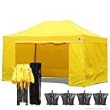 (18+ colors)ABCCANOPY Deluxe 10x15 Pop up Canopy Outdoor Party Tent Commercial Gazebo with Enclosure Walls and Wheeled Carry Bag Bonus 4x Weight Bag and 2x Half Walls (yellow)