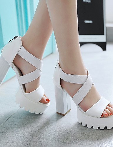 Casual Heels White Black Chunky ShangYi Sandals Heel Shoes Gray Leatherette black Red Women's wXX64qHn0